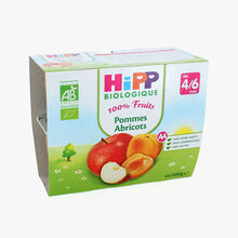 Coupelles de fruits pour enfant : pommes, abricots HiPP