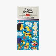 Noir et éclats de fèves de cacao - Illustration Joel Burden Le Chocolat des Français