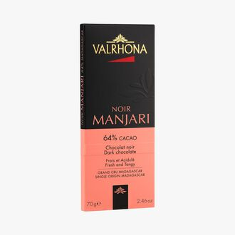 Manjari bar, dark chocolate (64 % minimum cocoa, pure cocoa butter) Valrhona