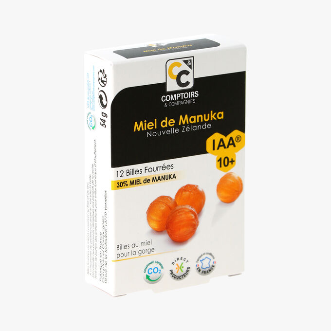 Miel de Manuka, 12 billes fourrées, 30 % Miel de Manuka IAA10+ Comptoirs et Compagnies