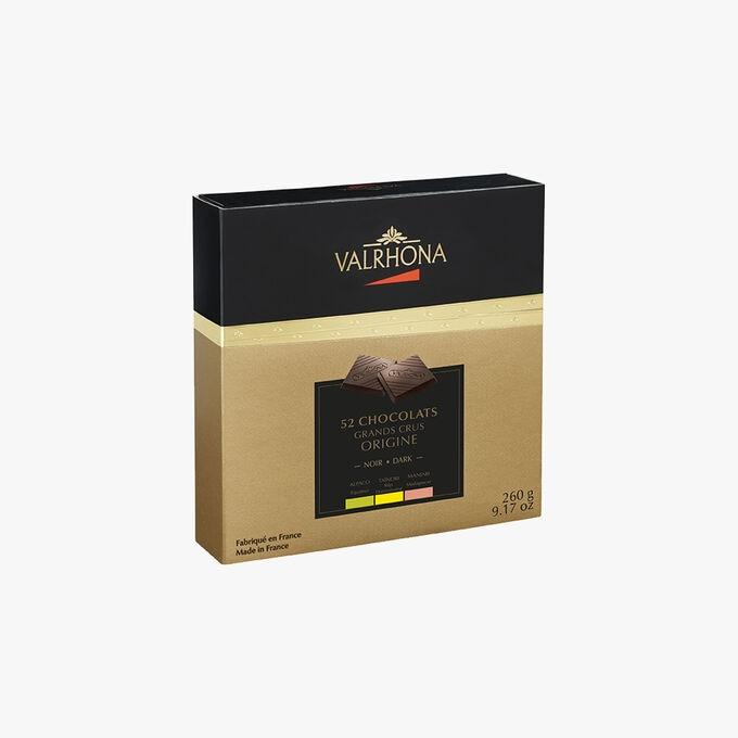 Coffret Grands Crus Origine, 52 carrés de chocolat Valrhona