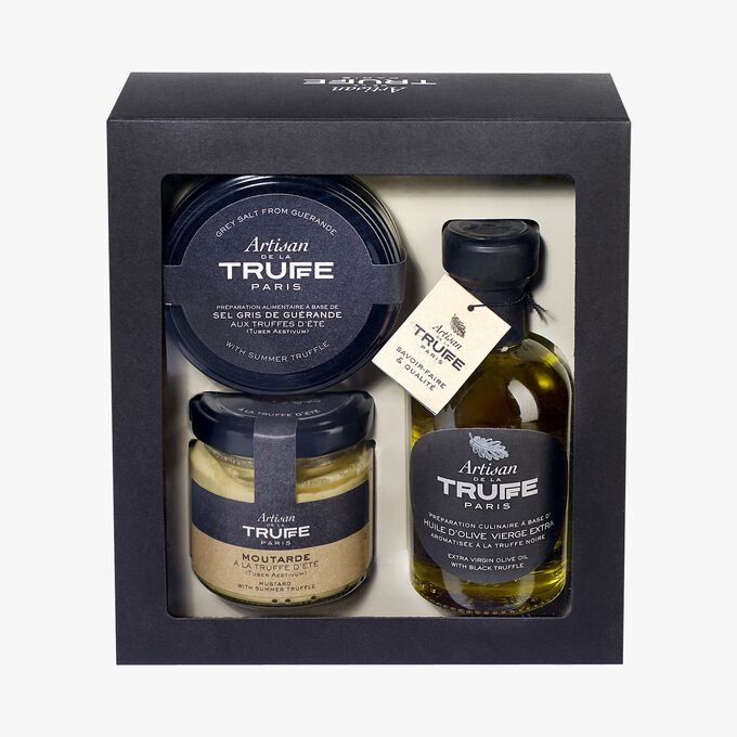 Coffret avec huile d'olive aromatisée à la truffe noire, sel de Guérande à la truffe d'été et moutarde à la truffe d'été Artisan de la truffe