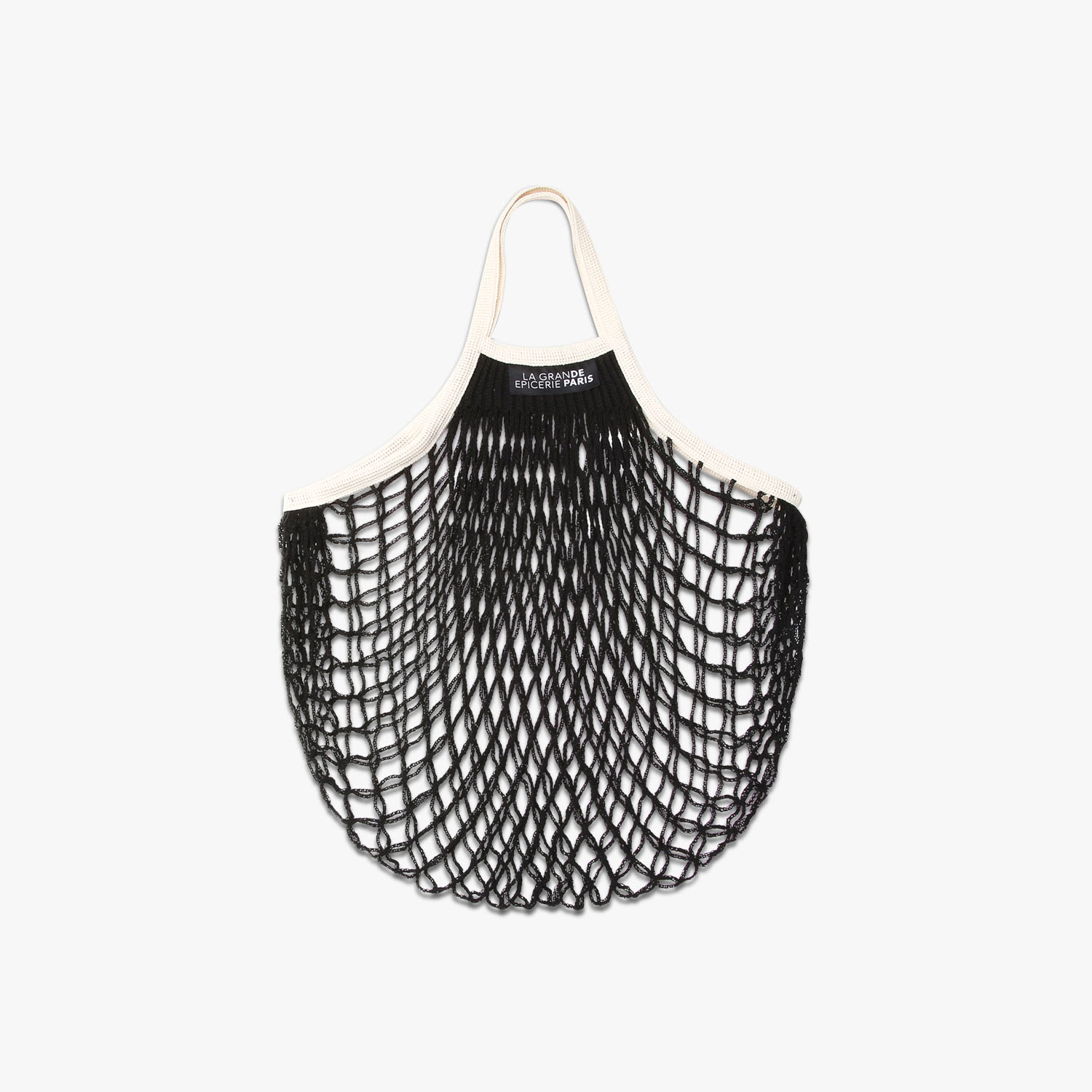 Black net bag with cream handles , , hi-res