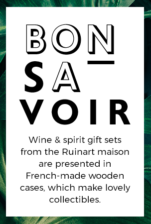 Wine & spirit gift sets from the Ruinart maison are presented in French-made wooden cases, which make lovely collectibles.