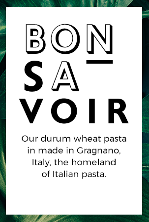 Our durum wheat pasta in made in Gragnano, Italy, the homeland of Italian pasta.